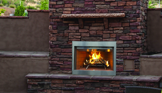 Superior fmi tuscan outdoor wood burning fireplace hearth for Wood burning stove for screened porch
